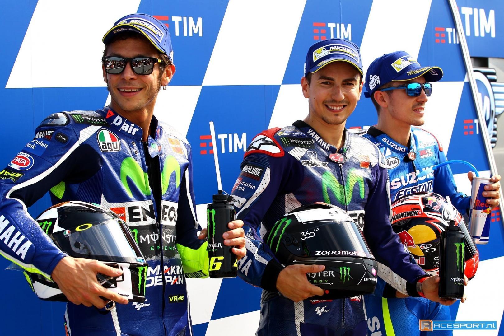 Valentino Rossi, Jorge Lorenzo dan Vinales di podium